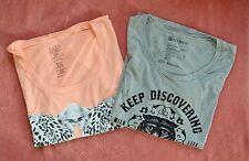 Billabong/Element Women's Set of 2 Short Sleeve Blouses - Neon Orange/Gray sz M