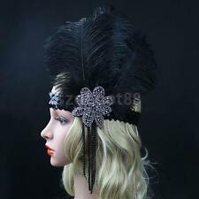 Vintage 1920s 30's Flapper FEATHER Headband Headpiece Fancy Dress Accessory