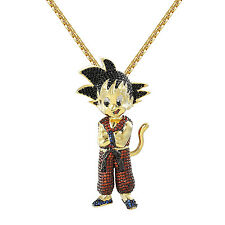 Dragon Goku Pendant 14k Gold Finish Red Blue Simulated Diamond Chain DBZ Custom