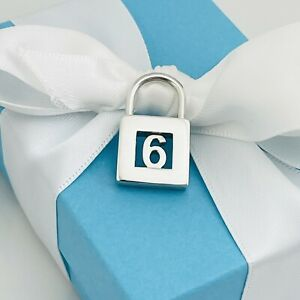 Tiffany & Co Sterling Silver Number 6  Padlock Charm Pendant