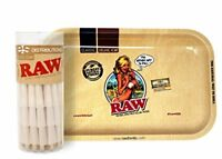 RAW Organic 1 1/4 Cones (75 Pack) with RAW Girl Small Metal Tray