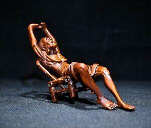 "5.5"" Collect China Box-Wood Hand Carving Buddhism Arhat Dharma Buddha Sit Staue"