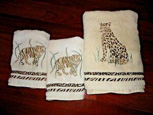 SANTENS CHEETAH TIGER CAMEL BLACK ANIMAL SAFARI (3PC) BATH & HAND TOWELS SET