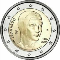 2 EURO ITALIA 2019 - 500 ANNI LEONARDO FDC UNC