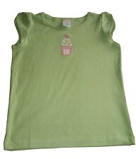 Girls Top Gymboree Lime Green Floral Embroidery Cap Sleeve Cotton Top.age 6years