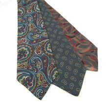 "3 Men's Ties Paisley Abstract Halston Woodward Silk Polyester Acetate 58 x 3.5"""