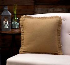 "Burlap Natural Ruffled Fringed FULL Throw Pillow Primitive Rustic Tan 16x16"""