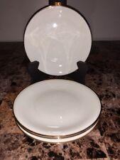"ELFENBEIN PORZELLAN BAVARIA * (4) Salad Plates 7 5/8"" - White with Gold Trim"