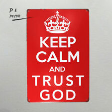DL- 12x8 Inches Keep Calm and Trust God Retro Vintage Decor Metal Tin Sign