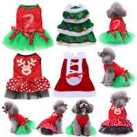 Christmas Santa Pet Dog Princess Dress Puppy Cat Coat Winter Clothes Costumes
