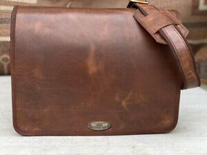 Men's Cow Hide Leather Laptop Messenger Handmade Briefcase Satchel 15 Inch Bag