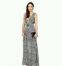 BNWT New Twin Sister at Lipsy Black and White Stripe Plunge Full Maxi Dress 10