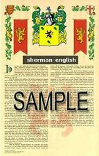 SHERMAN Armorial Name History - Coat of Arms - Family Crest GIFT! 11x17