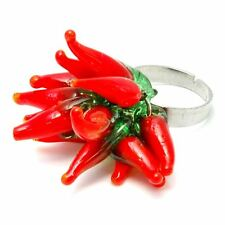 Joe Cool Red Hot Chilli Adjustable Cluster Ring - Kitsch Funky Jewellery