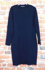 Woolovers navy merino wool jumper dress XL Spring  smart business walking snug
