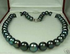 9-10mm Black Tahitian Cultured Pearl Necklace 18''AAA