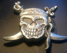 "4"" Hand Forged Pewter Pirate Skull & Crossbones Vintage Belt Buckle~Silver City"