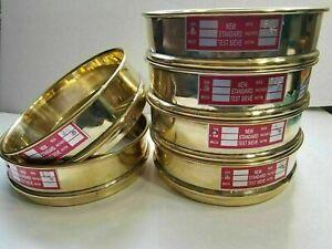Heavy Brass Gauge Standard Testing 6 Set Sieve w/ Lid & Catch