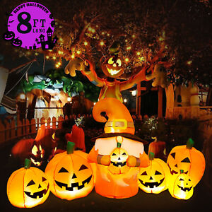 8FT Long Halloween Inflatables Pumpkin with Gnome Outdoor Halloween Decoration
