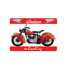 Plaque en Métal 15x20 Indian The Roadking Moto Rouge Rétro Vintage Publicitaire