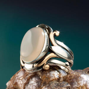 Solid 925 Sterling Silver White Agate Stone Payitaht Sultan Abdulhamid Ring