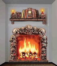 Gothic Fireplace Skulls 3D Halloween Haunted House Scene Setter Wall Decoration