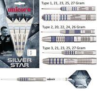 Gary Anderson Silver Star Tungsten Steel Tip Darts by Unicorn - 3 Barrel Styles