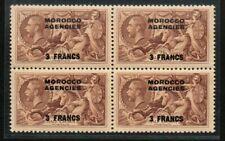 MOROCCO AGENCIES George V 1935 3f on 2/6d in UM block of 4 SG225