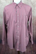 Lands' End No Iron Pinpoint Oxford Light Red Check Shirt Men's 17.5/36 Tall
