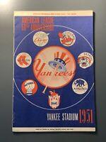 1951 Yankees Opening Game Program Mickey Mantle RC DEBUT 1st Hit RBI & Run RARE
