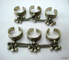 vintage antique ethnic tribal old silver toe rings belly dance jewelry