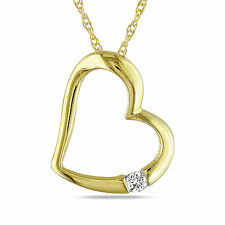 10k Yellow Gold Diamond Accent Heart Pendant Necklace