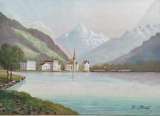 FLUELEN by MOUNT BRISTENSTOCK, ADLER, Signed G. Larro? Miniature Water Color
