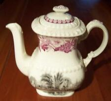 Copeland Spode Black and Pink or Red Old Transferware Small Coffee Pot with Lid