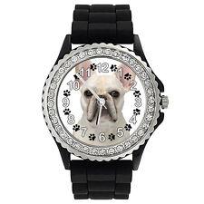 French Bulldog Crystal Rhinestone Mens Ladies Jelly Silicone Wrist Watch SG313P