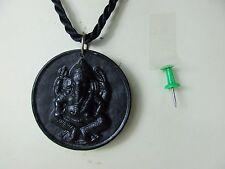 GANESHA Buddha Amulett  Marmor - Jade transparent mit Halskette  Thailand ~1970
