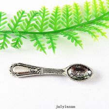 Vintage Silver Alloy Tiny Spoon Tableware Charms Pendants Findings 28x 51375