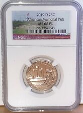 2019 D American Memorial Park Historical Quarter 25C NGC MS68 PL Proof Like 043