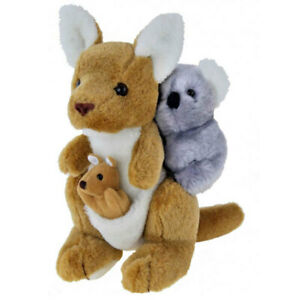"""Kangaroo Toy with Koala on back Australian Souvenir soft plush toy 11""""/28cm NEW"""