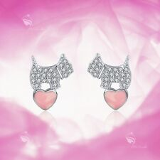 925 silver earrings simulated diamond puppy dog love heart stud kids baby cute