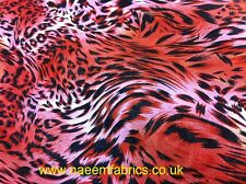 "Top Quality rusty red & Black Tiger Stripe Chiffon Fabric Animal Print 60""wide"