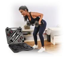 💪20Kg Dumbbells Adjustable Free Weight Dumbell Set Man Workout INC CARRY CASE