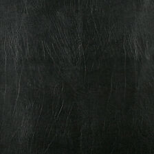 Black Distressed Solid Leather Hide Grain Indoor Outdoor Vinyl Upholstery Fabric