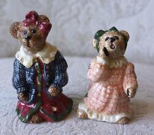 Boyds Bears Pottery Salt Pepper Shakers Louella & Hedda Girl Friends Secret 6E