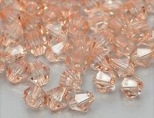 100x acrílico perlas doppelkegel bicone 4mm LT, Peach ab073