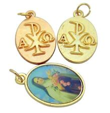 MRT Lot OF 3 St Therese 2 Sided Color Pendant w Gold Plate Catholic Medal Gift