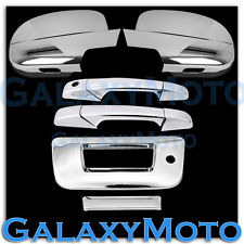 07-12 GMC Sierra Chrome Full Mirror+2 Door Handle+Tailgate w KH no Camera Cover