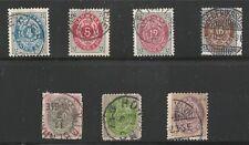 Denmark Scott #26 & 28-33, Singles 1875-79 FVF Used