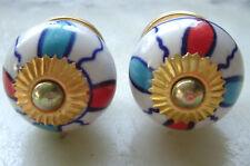 Ceramic Red,Blue & White round porcelain drawer pulls knobs