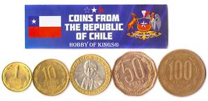 5 Coins Chile Collectible Chilean Money Currency 1 - 100 Pesos 1975 - 2021